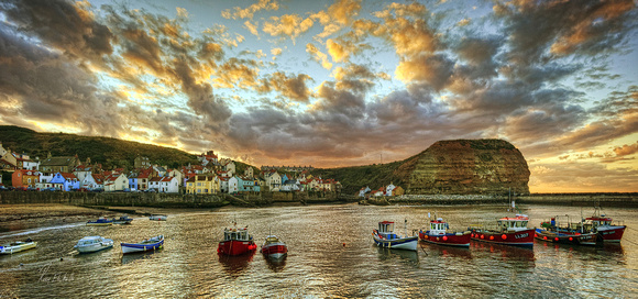 Staithes Harbour Sunset