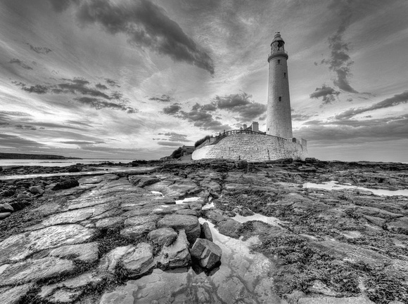 St Marys Lighthouse Black and White No#1