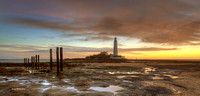St Mary's Lighthouse Sunrise Panorama, Whitely Bay, North East, UK.